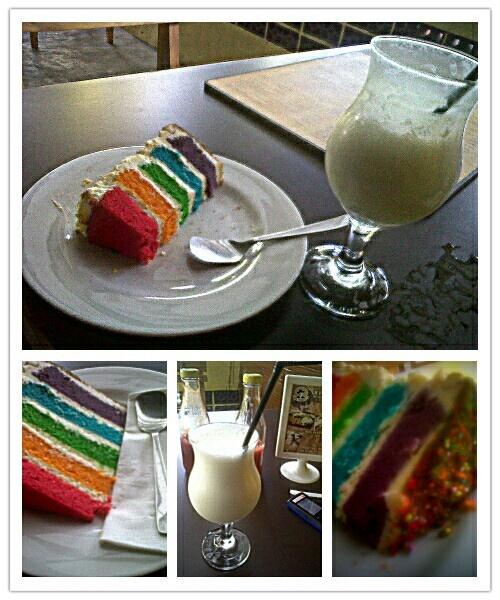 rainbow cake + lychee milkshake