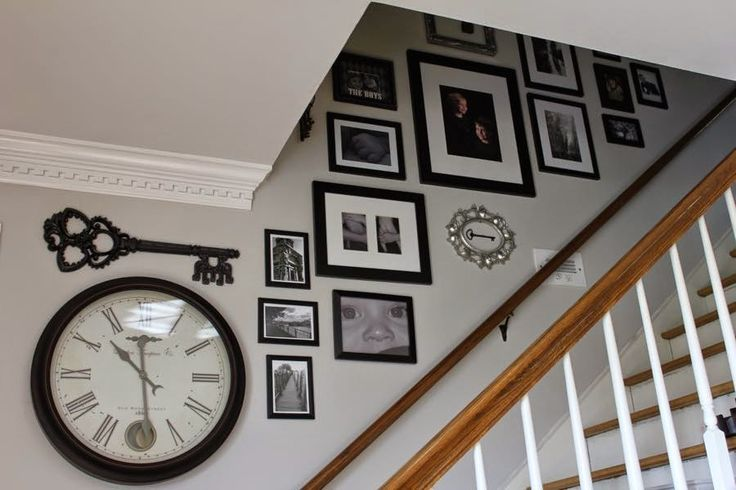 same layout as our stairway -- Create a Custom Stairway Gallery Wall using a collection of favorite items from around your home.