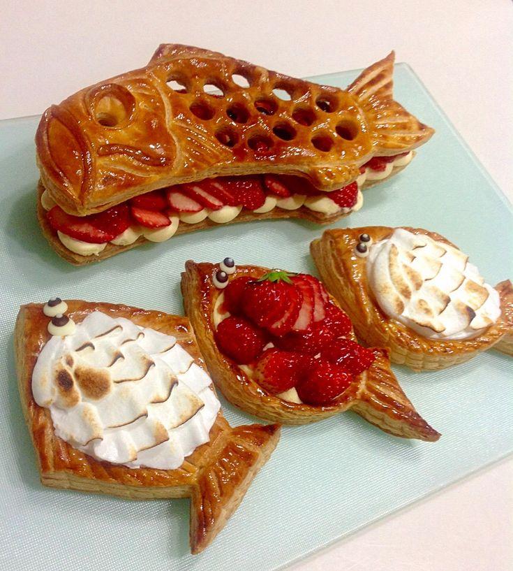bakedpie's dish photo 月の魚と 月の鯉のパイ   http://snapdish.co #SnapDish #フルーツ #ケーキ #こどもの日 #パイ