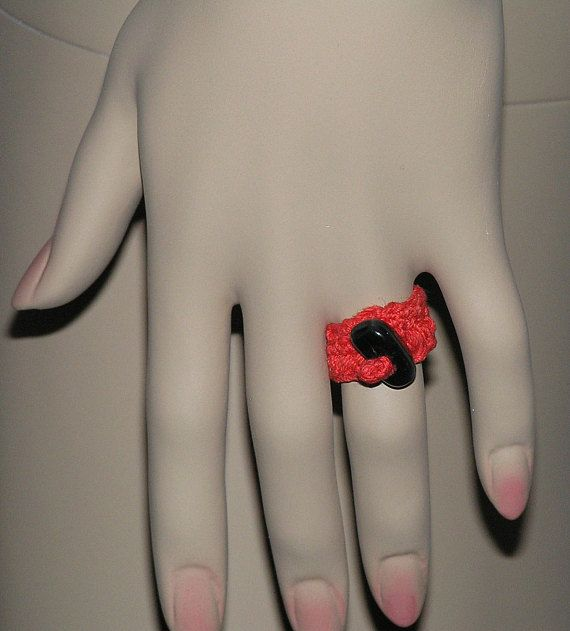 CROCHET RING with black gemstone onyx bead handmade crochet jewelry