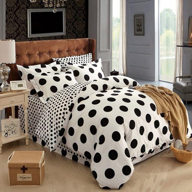 Pamuk siyah ve beyaz puantiyeli yatak takımları yatak seti keten pamuk kraliçe kral yatak örtüsü kırmızı pembe nevresim çarşaflar #2