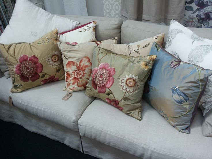 Silk floral embroidered cushions - $130 each