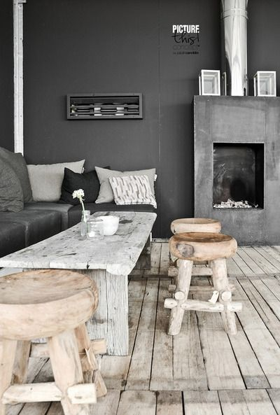 Grey, weathered and rustic gives this space so much character!