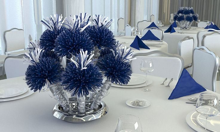 Navy blue and white party decorations dark