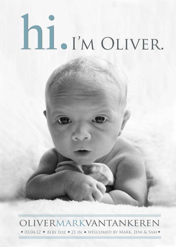 Hi Birth ANNOUNCEMENT  Photo Baby Announcement  Boy  par babybaloo