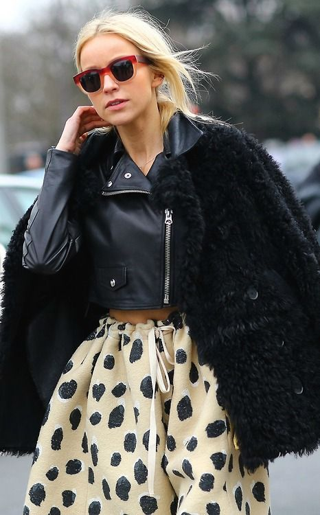 love the leather texture against delicate polka dot skirt.