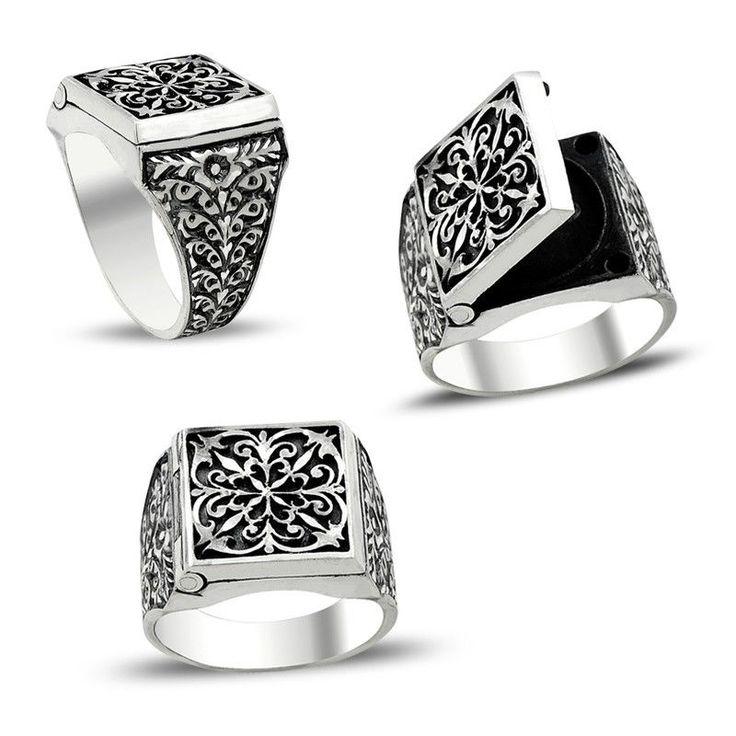 Silver Mens Ring 925 Sterling Silver Poison box ring unique handmadmens jewelry #KaraJewels #Filigree