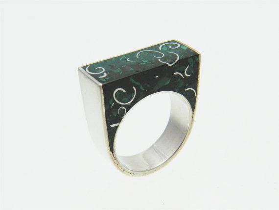 Ring Emerald Malachite Sterling Silver Stone Resin por ligiarocha, $140.00