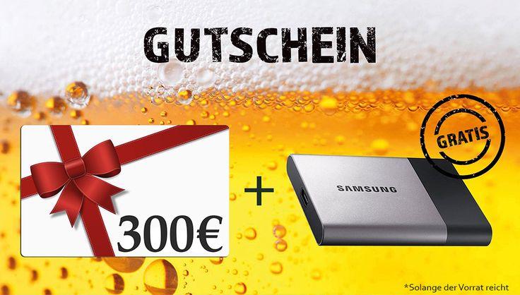 300€ Gutschein kaufen und eine Samsung Portable SSD T3 mit 1TB (MU-PT1T0B/EU) GRATIS dazu erhalten!