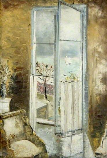 ◇ Artful Interiors ◇ paintings of beautiful rooms - PAUL NASH Through a Window, Riviera (c.1927)