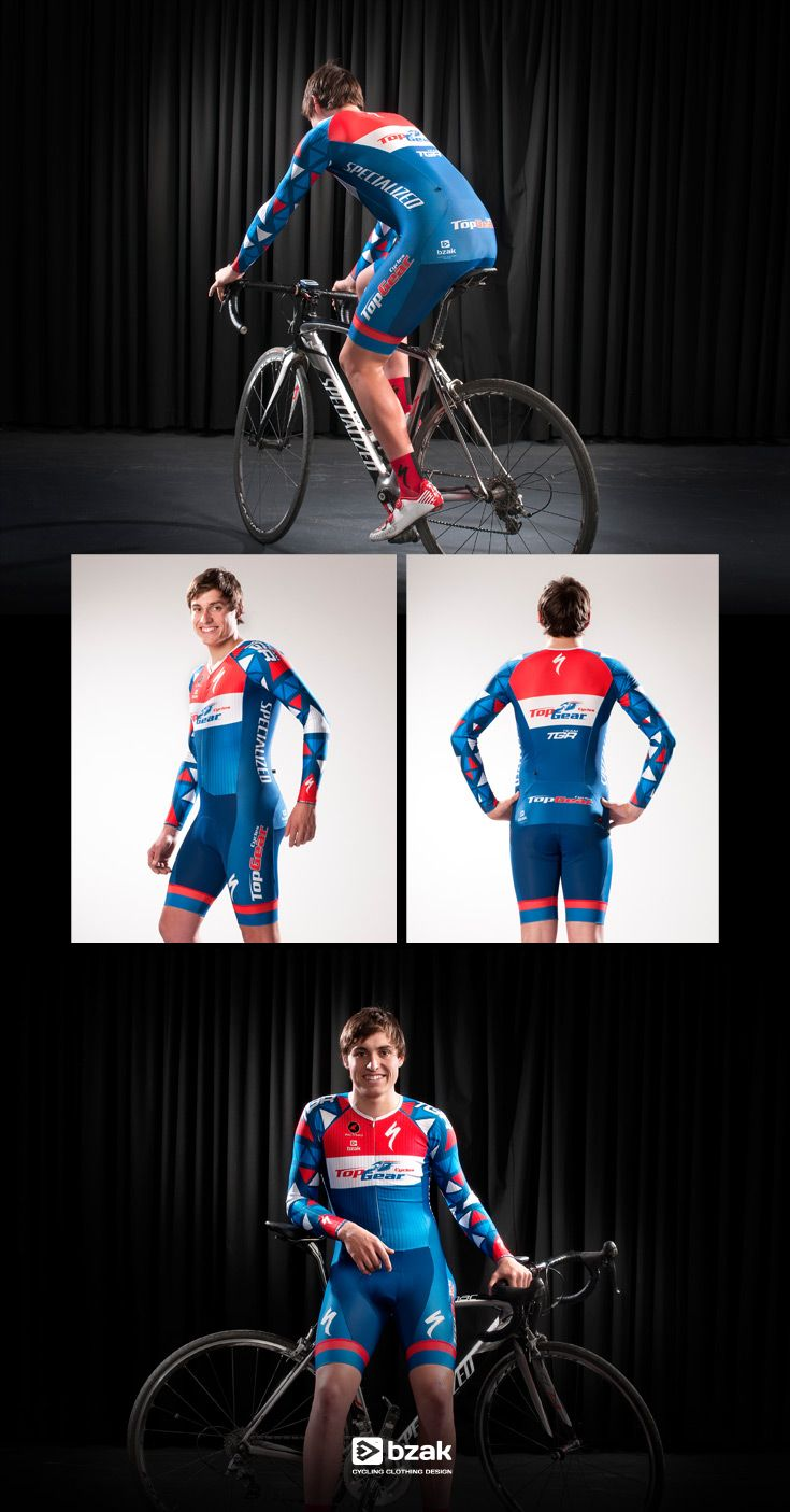 CX long sleeve skin suit for TopGear Cycles - triangle base pattern used to great effect on the arms.