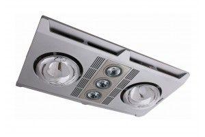 Martec Profile Plus 2 3 in 1 Bathroom Heater & exhaust Fan Silver 3 x LED Light 3 x Heat Lamp