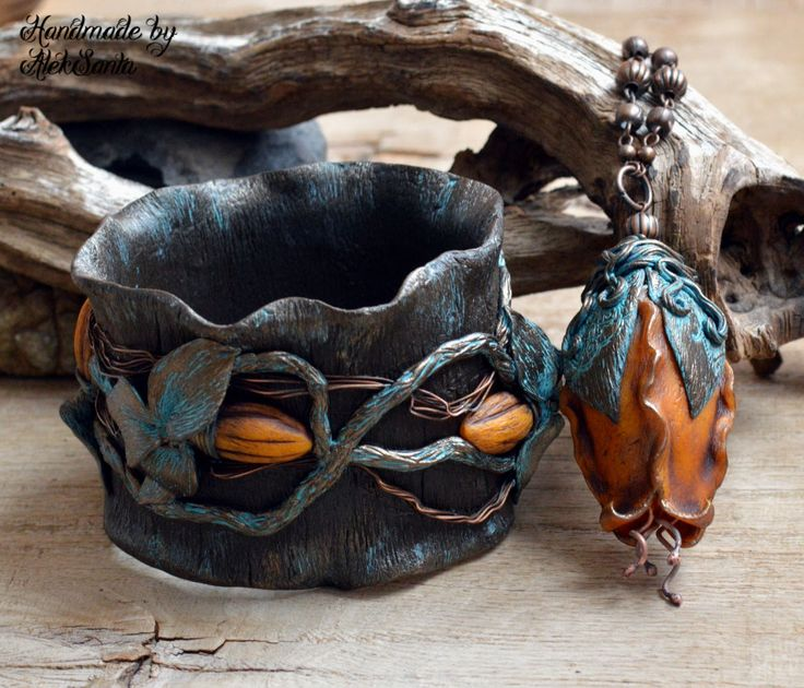 Brown jewelry Floral necklace Orange jewelry Large pendant Leaf jewelry unique Wide bracelet Leaf bangle Polymer clay jewelry for women Gift by HandmadeByAleksanta on Etsy