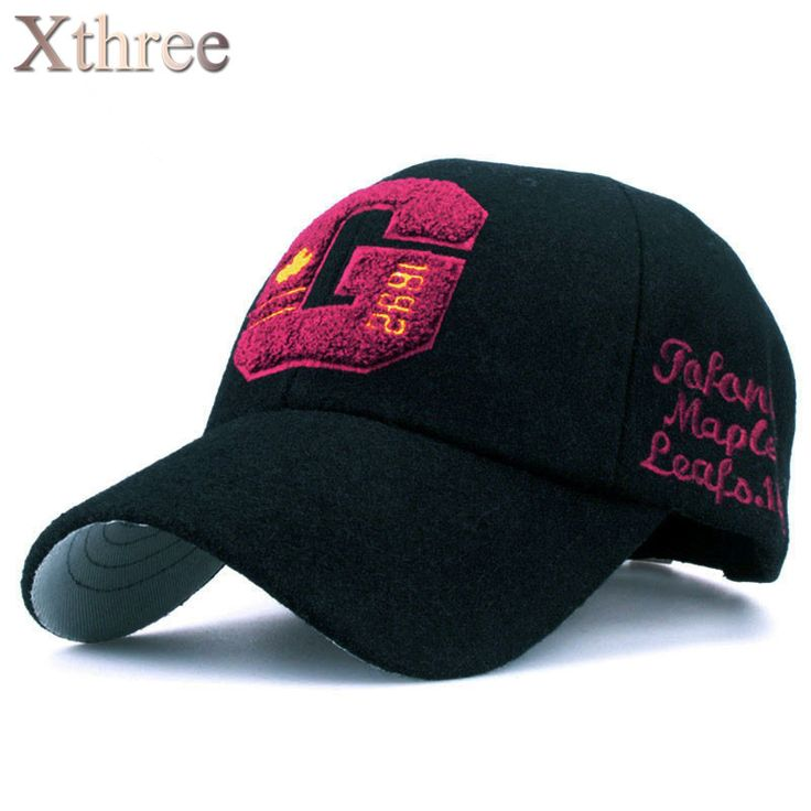 Xthree fashion fall winter wool baseball cap letter embroidery cap canada casquette snapback Hat for men women Travel cap