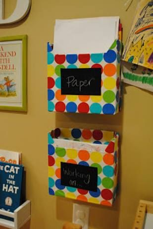 Cover cereal boxes with wrapping paper to make homework in/out bins