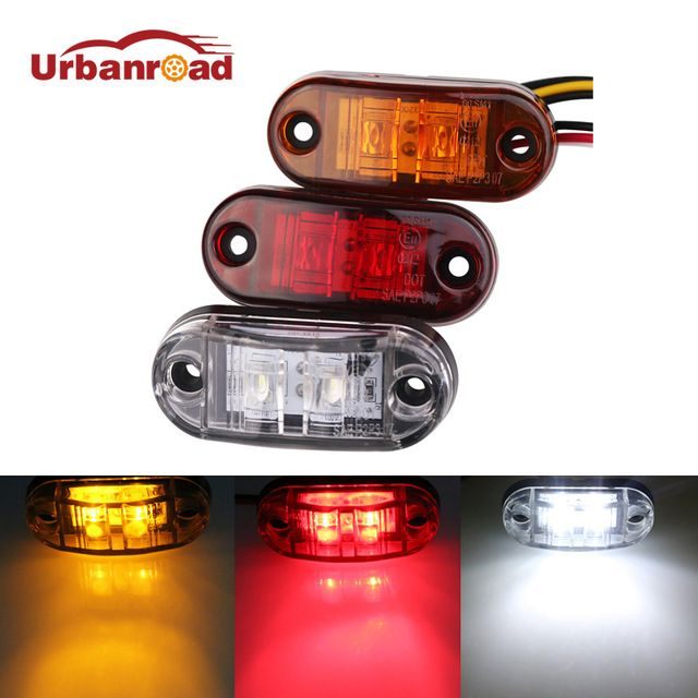 Urbanroad 2pc 12v 24v Led Amber Red White Side Led Marker Trailer Lights Led Marker Lights For Trucks Marker Light Review Led Lights Lights Led