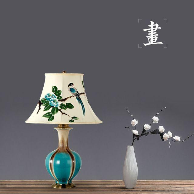 Новые Приходят Классические Элегантные Китайские Керамические Ручная Роспись Ткани Led E27 Настольная Лампа Для Гостиной Спальня Отель H 61 см 1293