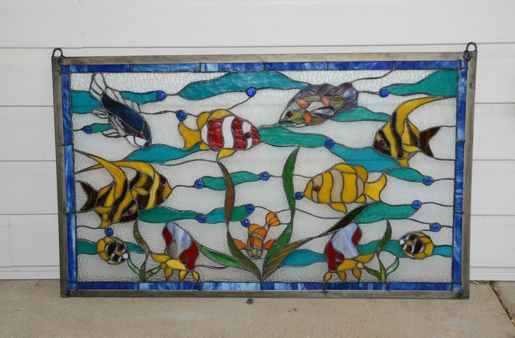 stained glass aquarium | ... glass window panel tropical fish under the sea ebay more stained glass