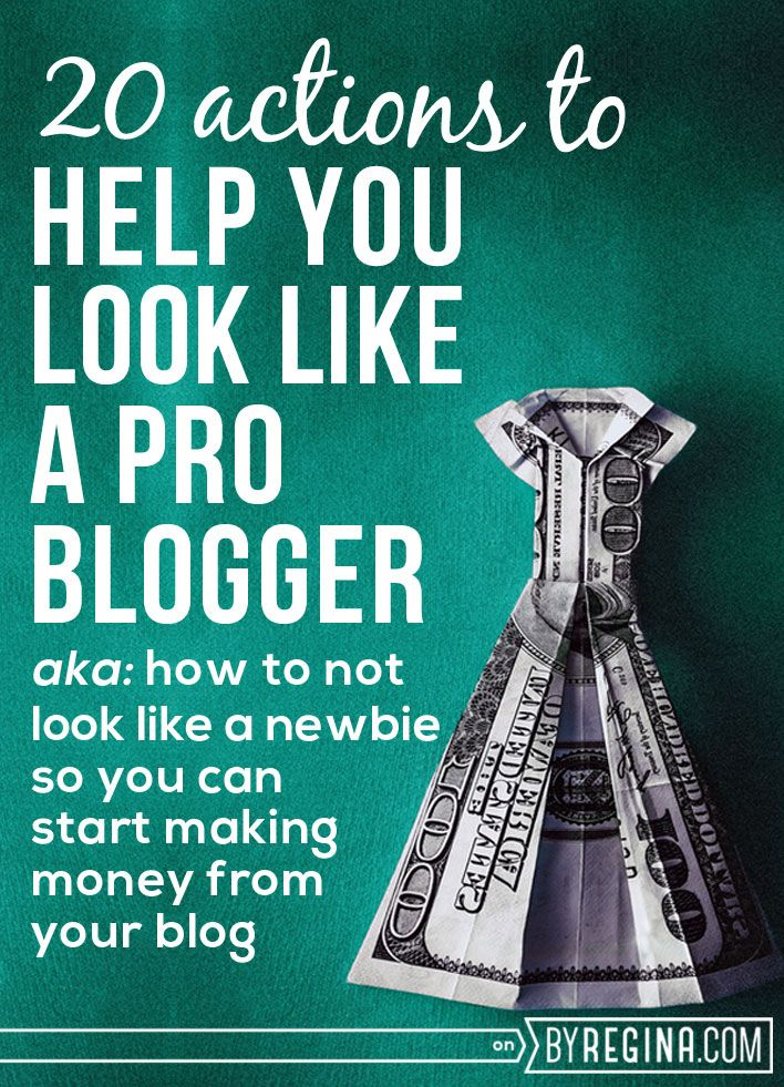 20 Actions You Can Take to Look Like a Pro Blogger. These items will help you not look like a newbie and help you start to establish your reputation as a professional #blogger.