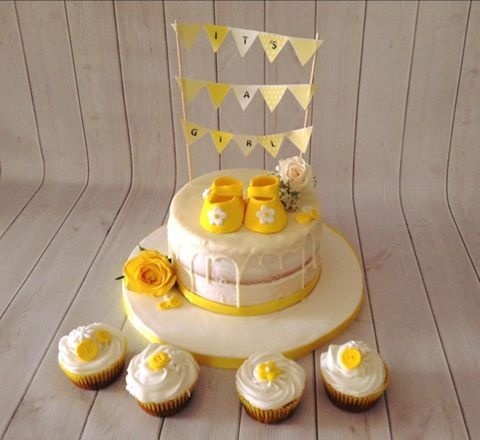 Yellow Baby Shower cake with bunting