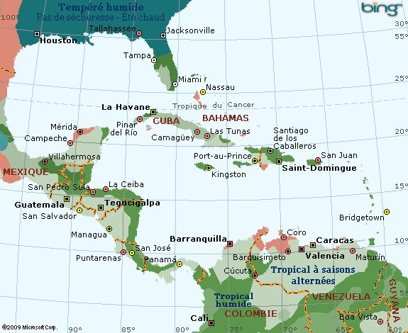 Carte climatique de la Jamaique