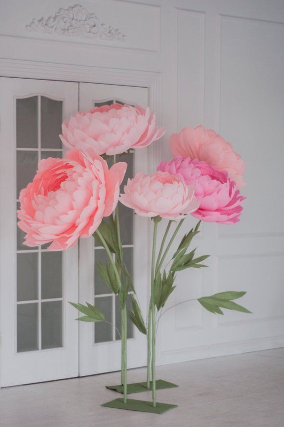 Standing Giant Paper Flowers Self Standing Paper Flowers Etsy