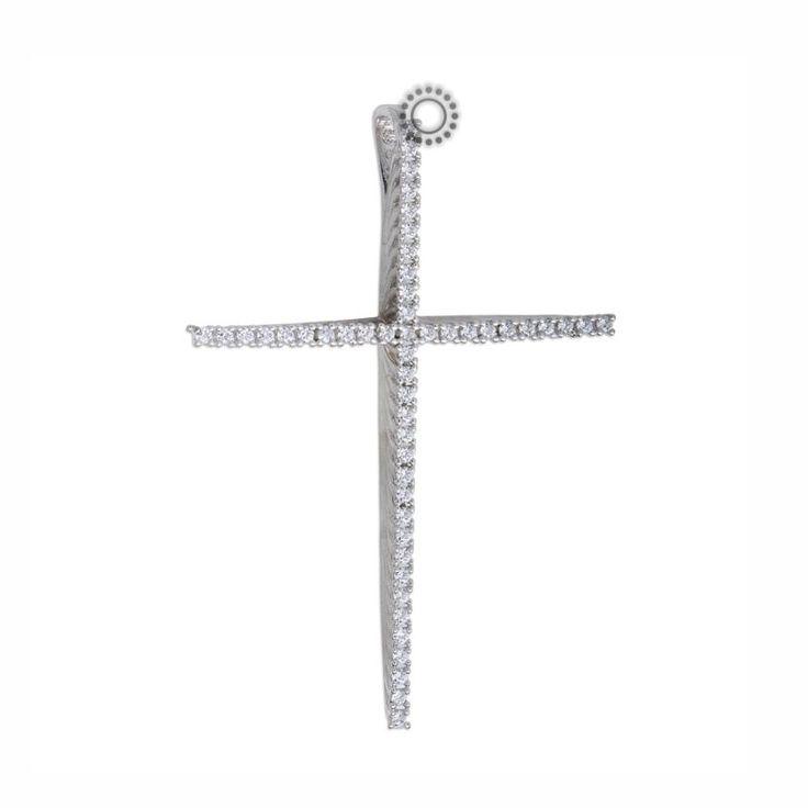Μεγάλος και μακρύς σταυρός γυναικείος ή για βάπτιση κοριτσιού από λευκόχρυσο Κ14 με σειρέ από ζιργκόν καρφωμένα σε τρισδιάστατο σκελετό | Σταυροί ΤΣΑΛΔΑΡΗΣ στο Χαλάνδρι #σταυρός #βάπτισης #λευκός #γυναικείος