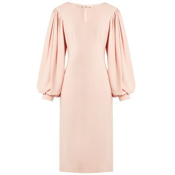 Osman Maddy balloon-sleeved crepe midi dress (£615) ❤ liked on Polyvore featuring dresses, light pink, osman dress, balloon sleeve dress, mid calf dresses, midi dress and crepe fabric dress