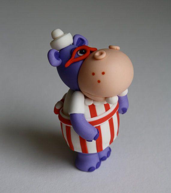 Fondant Doctor Inspired Hippo Cake Topper