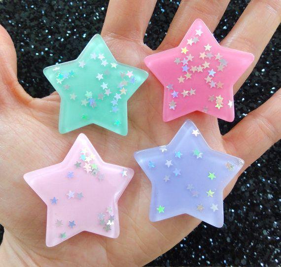 4 pcs  Pastel Star AB Glitter Resin Flatback by CraftyMissBettie