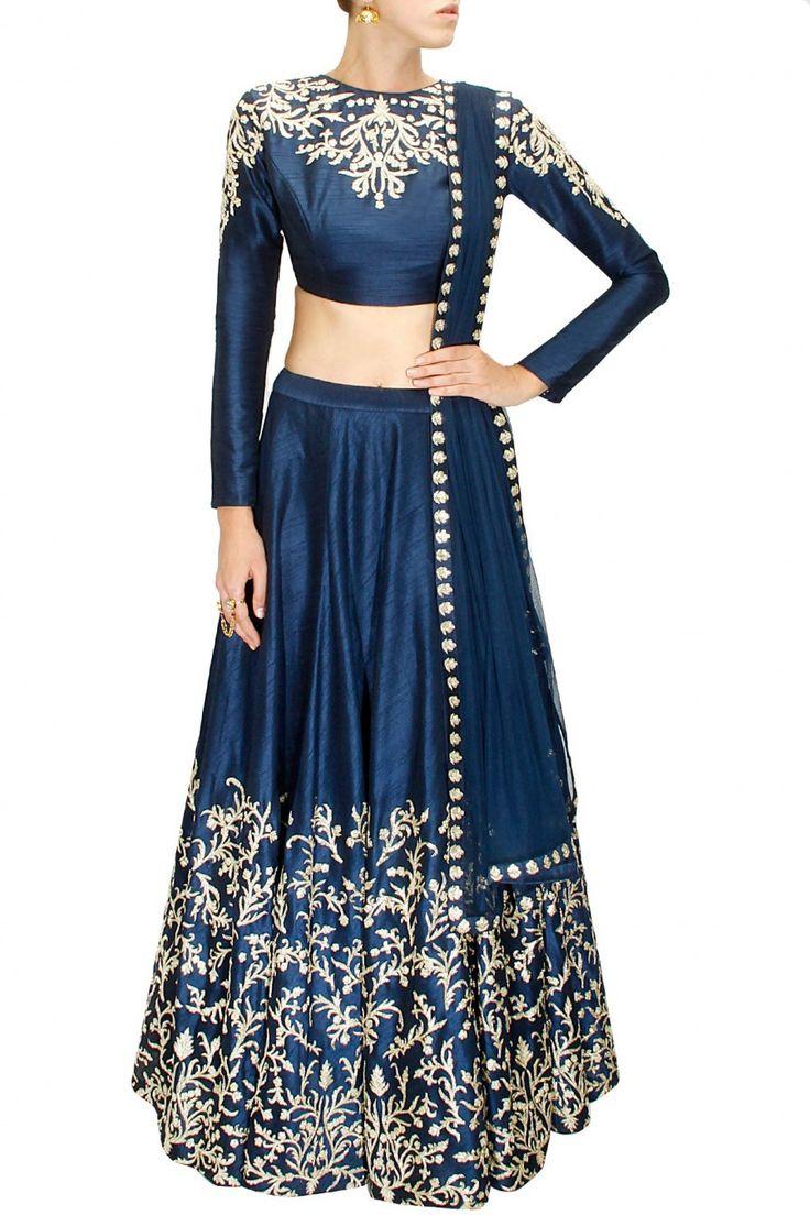 Navy blue pitta and zardosi embroidered lehenga set by SVA. Shop at www.perniaspopupshop.com #designer #sva #couture #fashion #indian #traditional #shopnow #perniaspopupshop #happyshopping