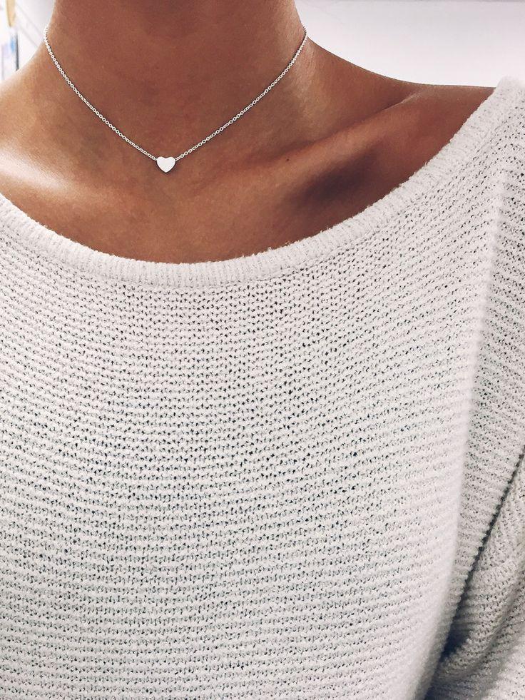 Silver Heart Chain Choker – Stargaze Jewelry