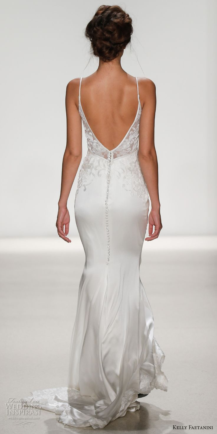 Love the low back and the relaxes train - modern and very flattering! Kelly Faetanini Spring 2018 Bridal