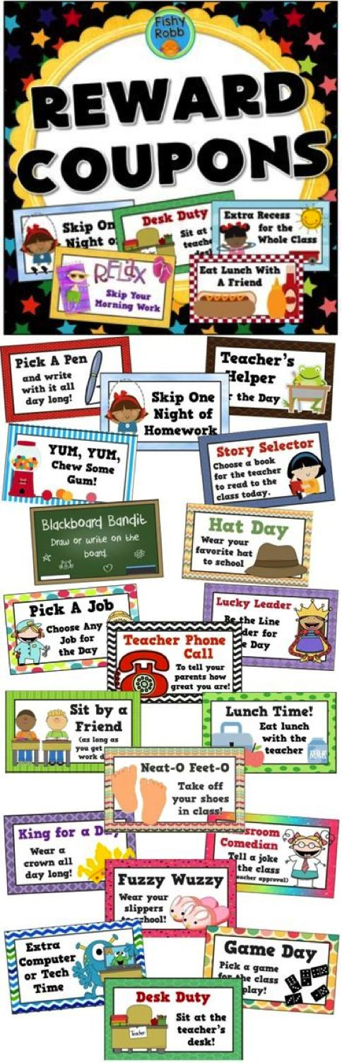Tired of spending money on your classroom treasure box? Try reward coupons instead! Students LOVE to earn special privileges and they don't cost you a thing!