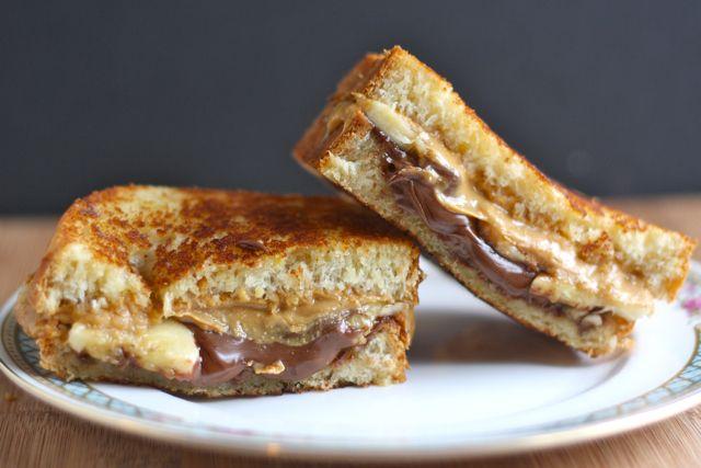 Toasted Peanut Butter + Nutella + Banana Sandwich