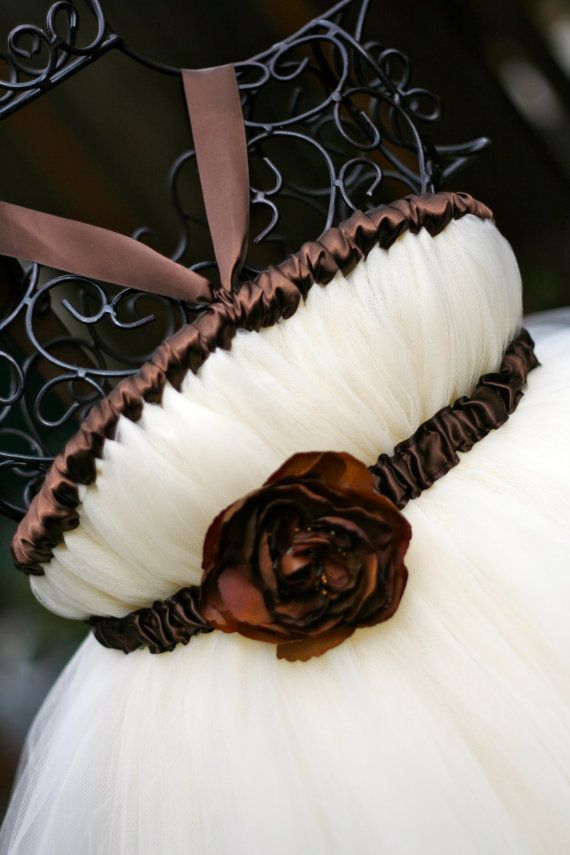 Elegant Ivory Tutu Flower Girl Dress with Brown Accents  by littledreamersinc, $80.00 - This is so cute! And totally DIYable for about $20. I'm going to make this with navy for Jaime's wedding :)