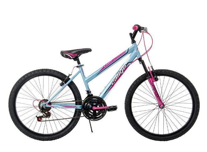 The 24 inch Girls Descent Bike combines great features with a cool design. The 18-speed Index shifting system is easy to use and lets you shift with just a twist. The suspension fork makes riding across any terrain easier to handle- bumps seem to disappear as you ride. The Descent features linear pull brakes and alloy rims for sure stopping power regardless of the weather. #bike #bicycle #Rallye #huffy