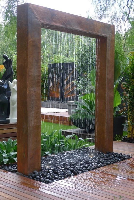 Deck Waterfall: Could easily be made with hollow box uprights, run the water tube through one and the top hollow box with a PVC tube that you drill holes in for the water to run out. Faux paint it to look like copper, really pretty easy. | campinglivezcampinglivez