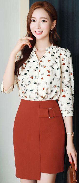 StyleOnme_Asymmetrical Hem Ring Detail H-Line Skirt #chic #stylish #skirt #koreanfashion #kstyle #kfashion #seoul #dailylook #prefall