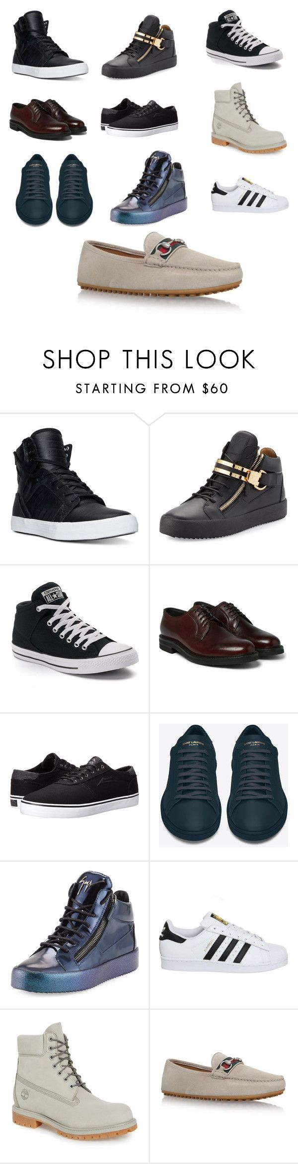 """""""FAVORITE COLLECTION"""" by beztmillzwears on Polyvore featuring Supra, Giuseppe Zanotti, Converse, Lakai, Yves Saint Laurent, adidas, Timberland, Gucci, men's fashion and menswear"""