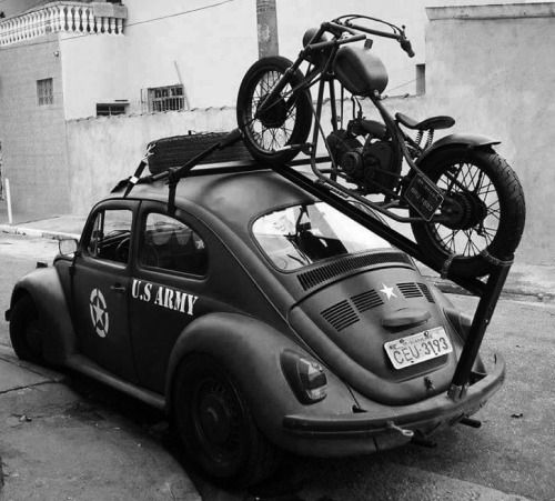 Post World War II U.S. army VW Beetle with motorcycle carrier
