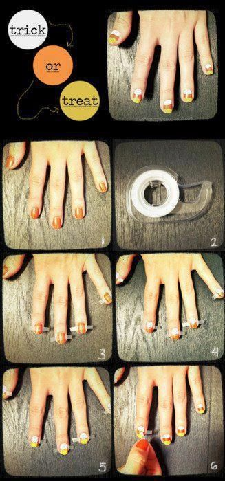 Nice and cute even lines for candy corn nails for Fall