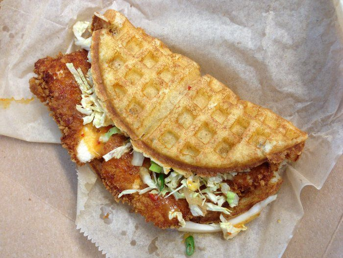 For this week's Sandwich Monday, we try chicken and waffles, in sandwich form. The Chicago restaurant Bel 50 uses waffles for all of its sandwiches, and we don't miss the bread at all.