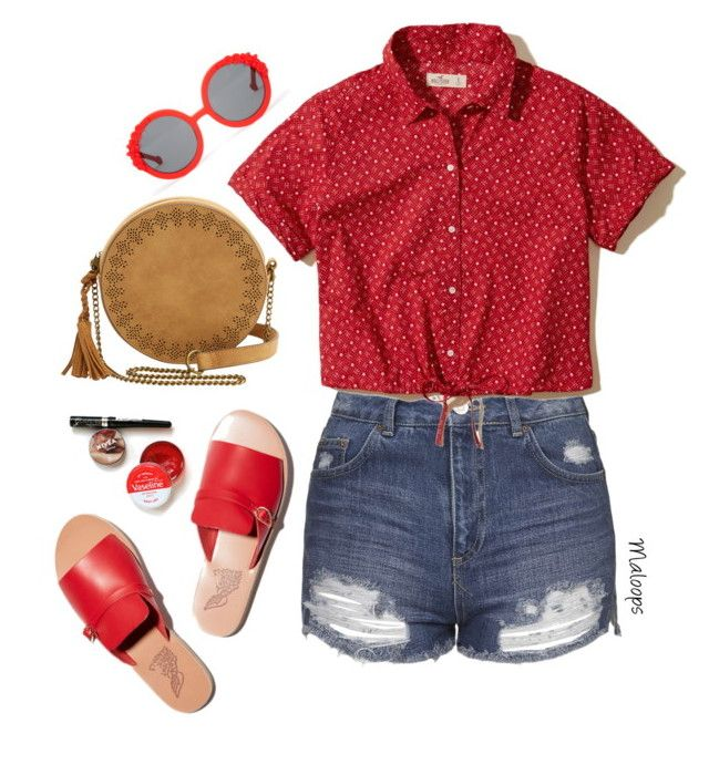 """""""~I feel your whisper across the sea~"""" by maloops ❤ liked on Polyvore featuring Topshop, Hollister Co., T-shirt & Jeans, Preen, Summer, DENIMCUTOFFS, denimshorts and DenimStyle"""