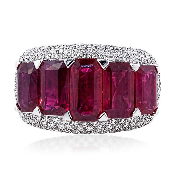 Five Stone Emerald Cut Ruby Ring | William Noble