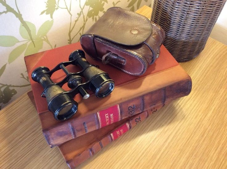 Vintage Binoculars With Built In Compass & Tan Leather Case  | eBay
