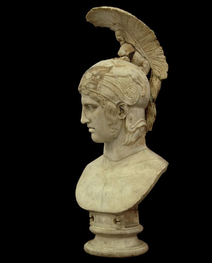 Mars (Ares) - profile, head of Roman statue (marble), copy after Greek original by Alkamenes, ? (original 5th c. BC), (The Hermitage, St Petersburg).