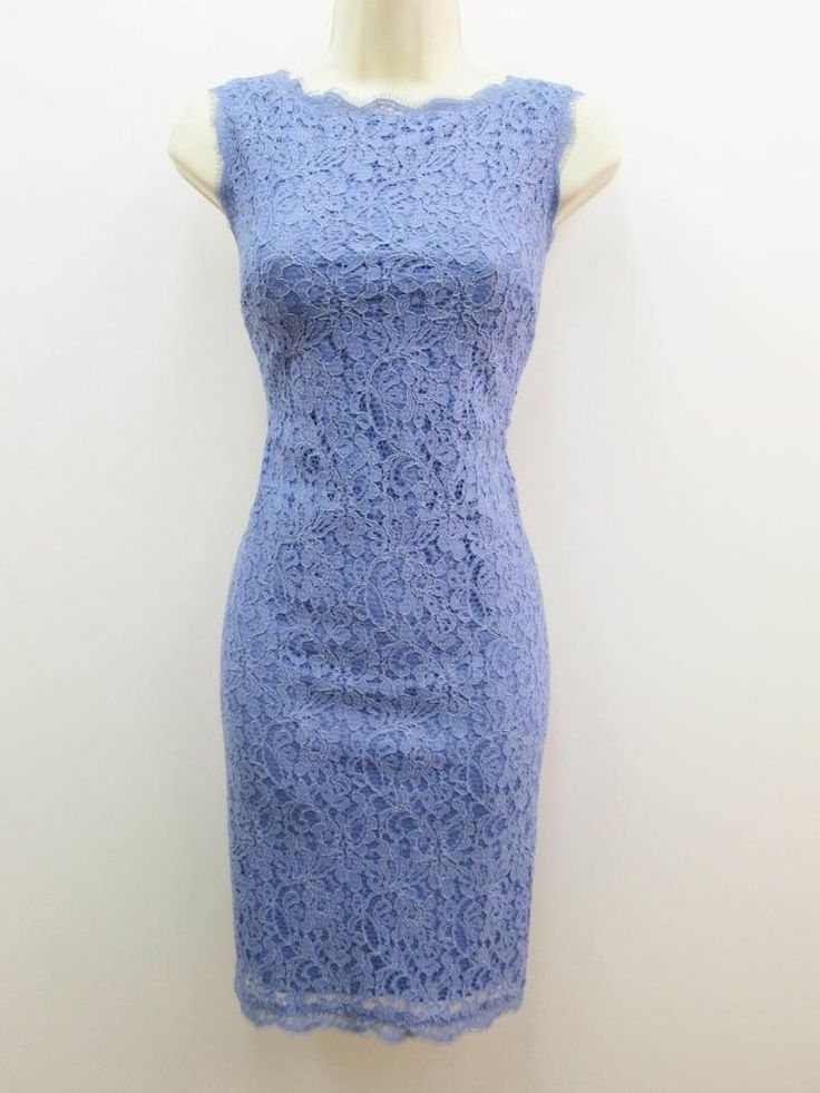 Adrianna Papell Periwinkle Blue Floral Lace V-Neck Sleeveless Cocktail Dress