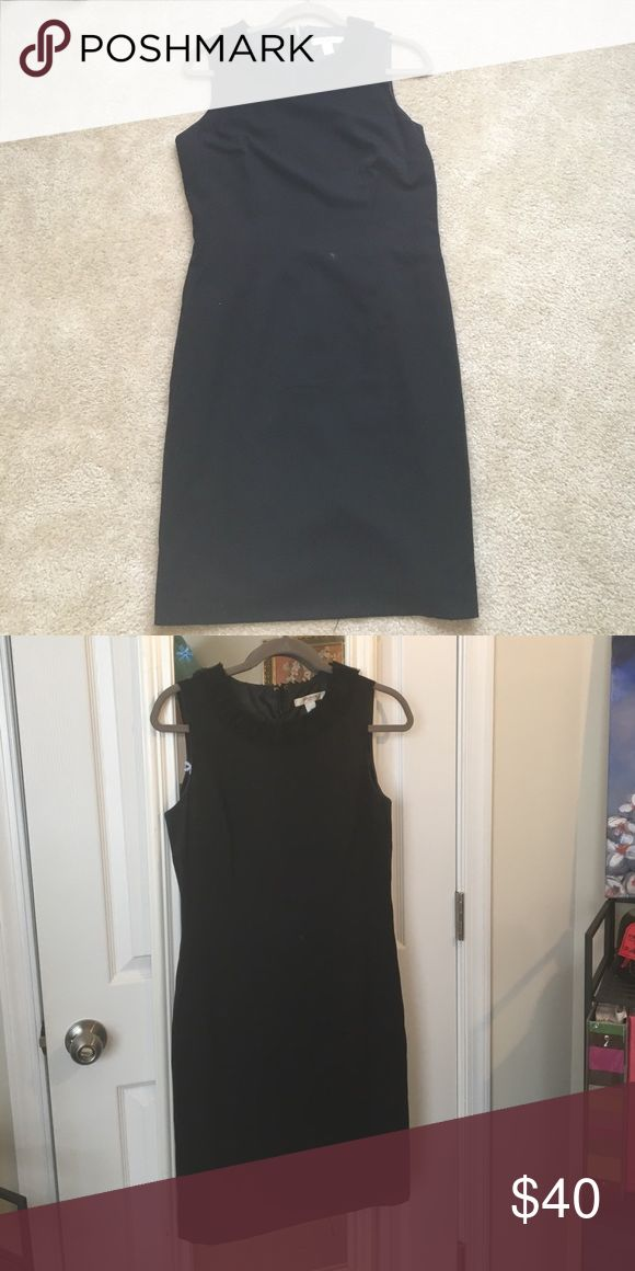 Liz Claiborne Petite black shift dress Black shift dress with shirred detail around the neck. Zipper and hook-and-eye enclosure in the back. Lightly worn but in excellent condition. Liz Claiborne Dresses