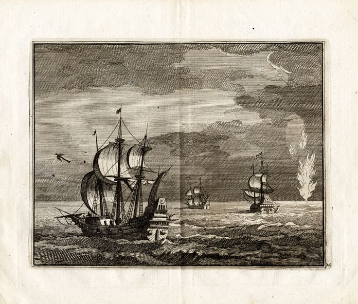 The Prints Collector :: Antique Print-DEPARTURE OF SHIPS-CHRISTOFFEL COLUMBUS-vd Aa-1707
